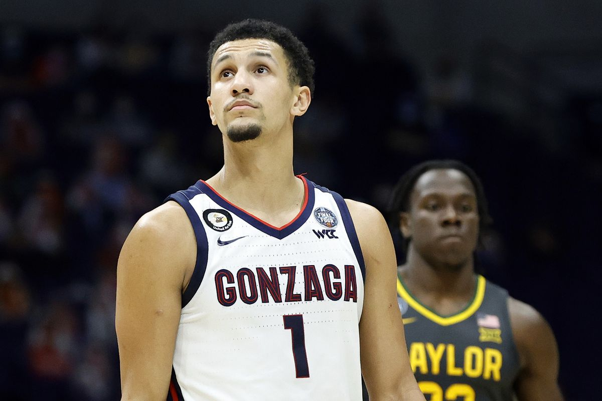Jalen Suggs #1 of the Gonzaga Bulldogs looks on against the Baylor Bears in the National Championship game of the 2021 NCAA Men's Basketball Tournament at Lucas Oil Stadium on April 05, 2021 in Indianapolis, Indiana.