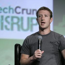 """Facebook CEO Mark Zuckerberg speaks during a """"fireside chat"""" at a conference organized by technology blog TechCrunch in San Francisco, Tuesday, Sept. 11, 2012.  Zuckerberg gave his first interview since the company's rocky initial public offering in May."""