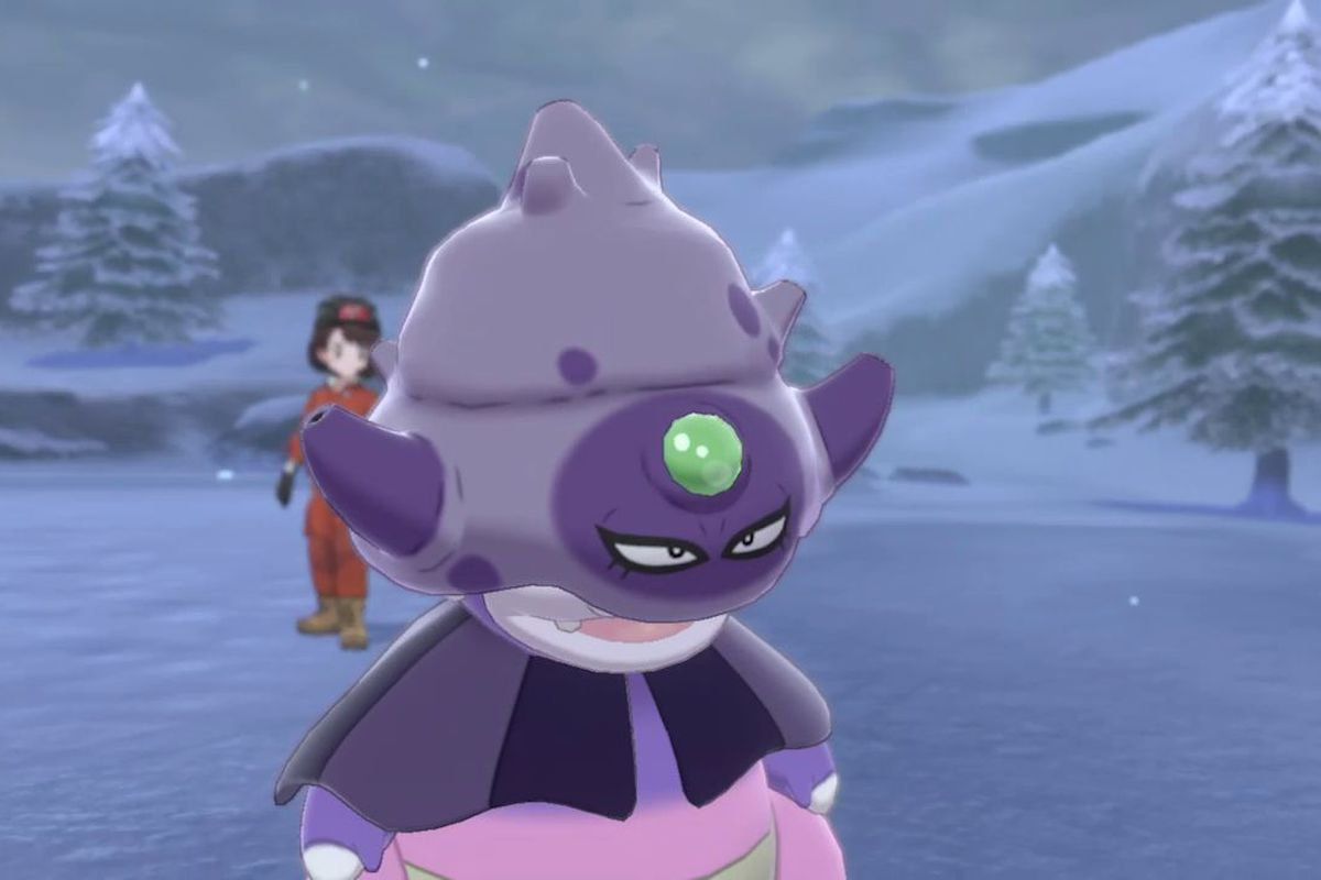 Galarian Slowking looking dopey in a screenshot from Pokémon Sword and Shield: The Crown Tundra