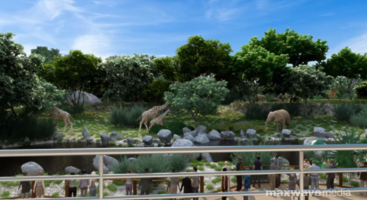 The event space overlooks the zoo enclosure, featuring views of the elephants and giraffes.