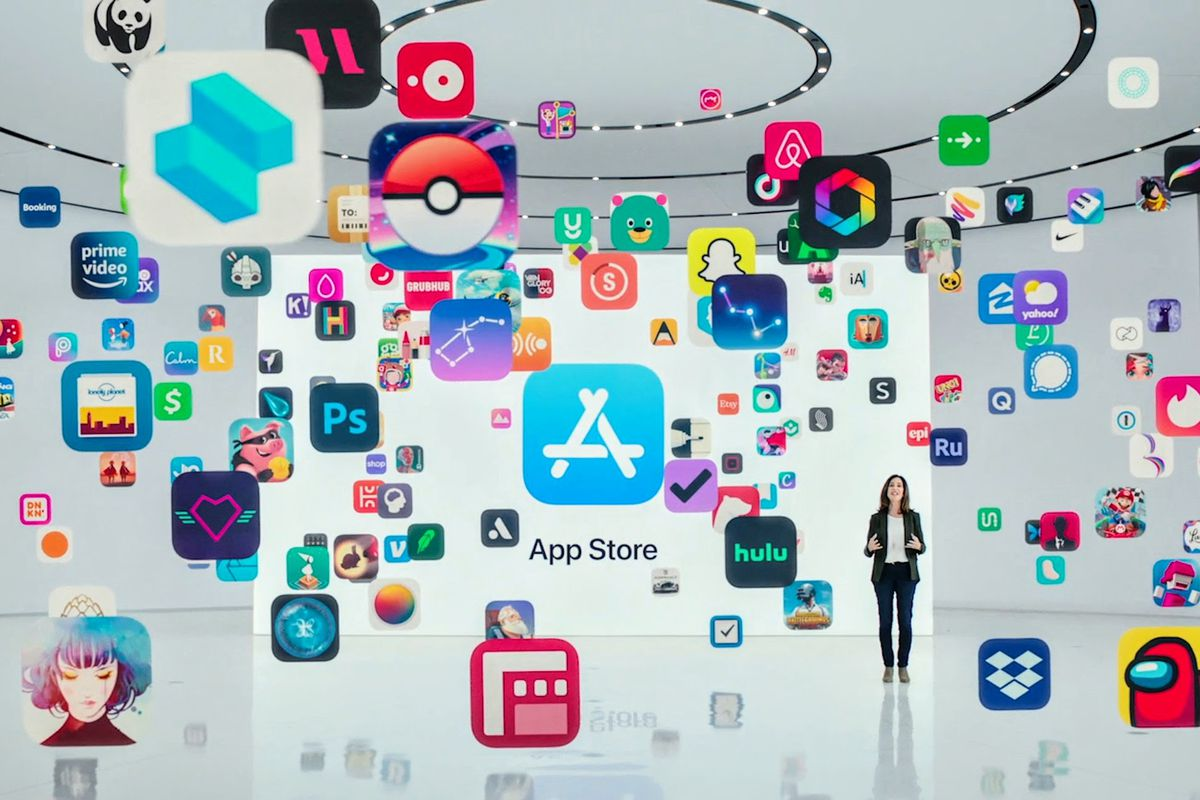A still from Apple's 2021 WWDC presentation on the App Store.