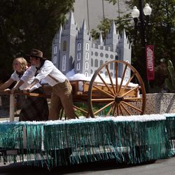 Salt Lake Hillside Stake float in the Days of '47 Youth Parade in Salt Lake City on Saturday, July 20, 2013.