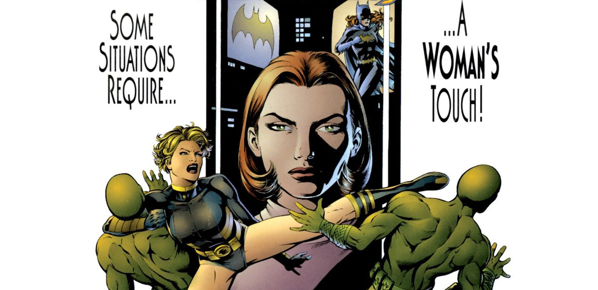 """""""Some situations require... ...a WOMAN'S touch!"""" yells the cover of Birds of Prey: Black Canary/Oracle. Black Canary kicks a guard in the head while putting another in an armlock. In the background, Oracle stares impassively, flanked by computer screens. DC Comics (1996)."""