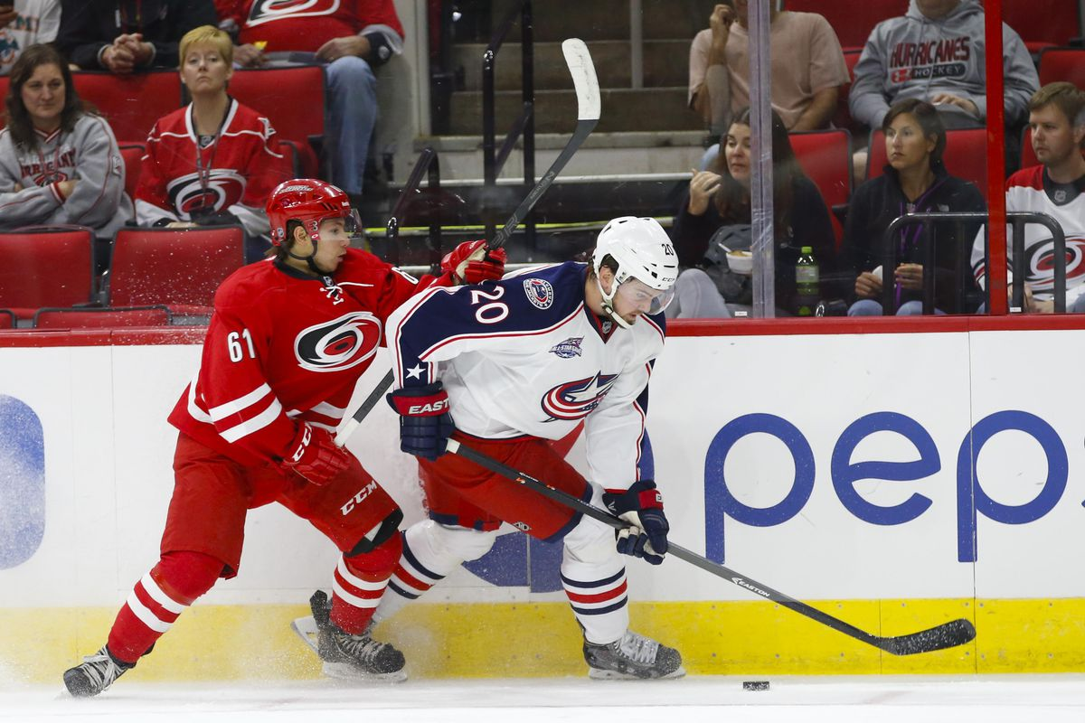 Sergey Tolchinsky in preseason action against the Blue Jackets last year