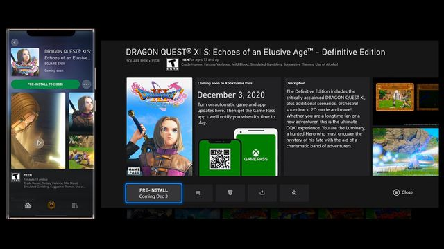 screenshot of Dragon Quest 9's page in Xbox Game Pass' coming soon section
