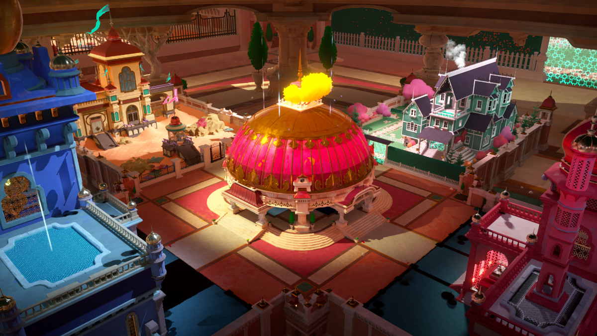 A wide view of the pink-domed building surrounded by other colorful hoses and castles, with rich blues, greens, and purples