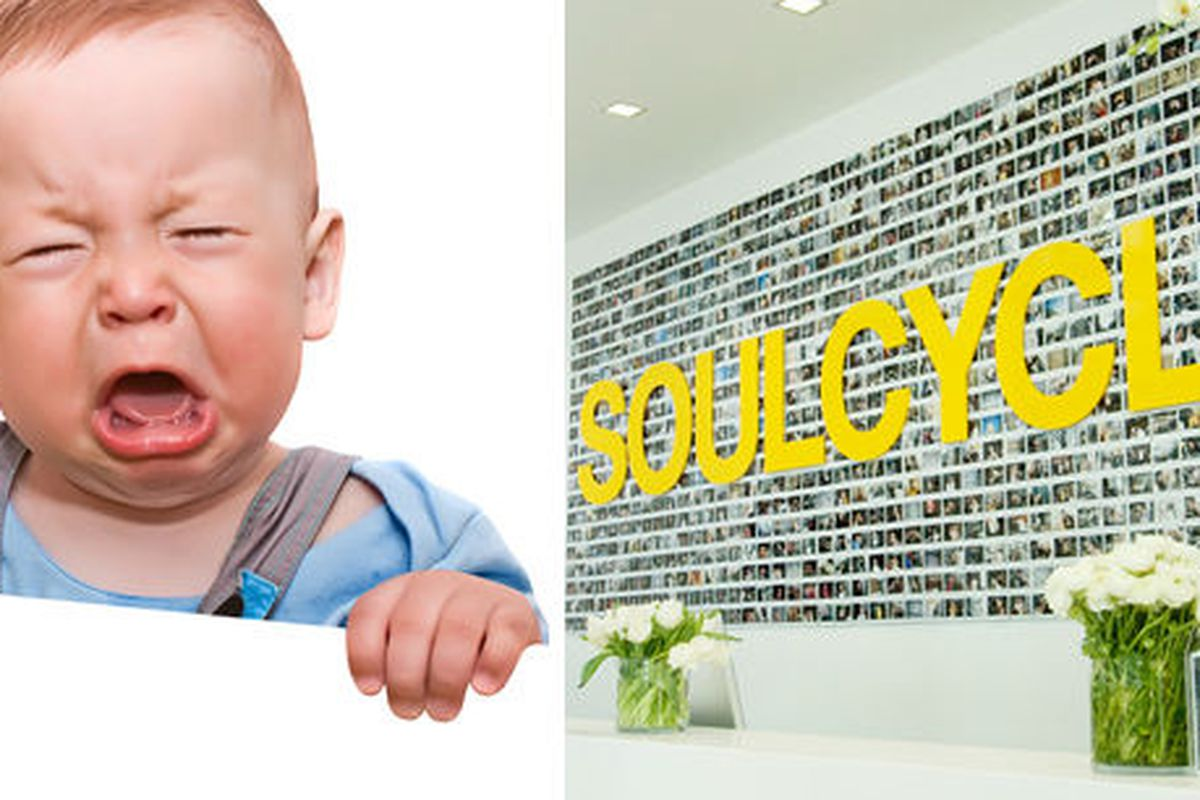 """Baby via <a href=""""http://www.shutterstock.com/pic-78645643/stock-photo-the-crying-boy-on-white-background-with-empty-place-for-your-text.html?src=csl_recent_image-1"""">Irina Rogova</a>/Shutterstock. SoulCycle image via <a href=""""http://soul-cycle.com"""">"""