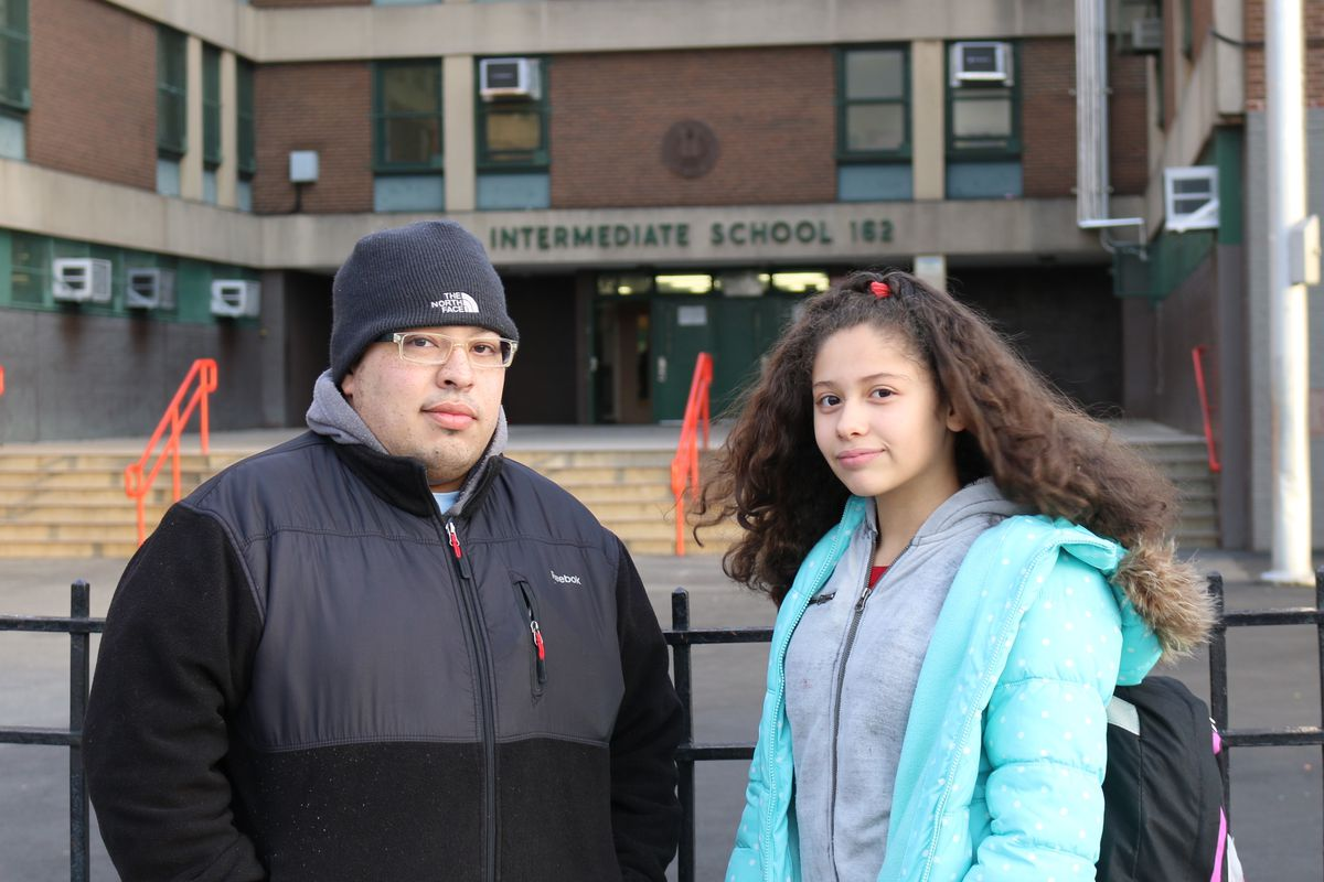 Nelson Santiago with his daughter, Savannah Torres, a sixth-grader at J.H.S. 162