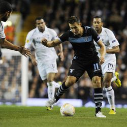 Lazio's Miroslav Klose, of Germany, center, controls the ball during a Europa League Group J soccer match against Tottenham Hotspur at White Hart Lane ground in London, Thursday, Sept. 20, 2012.