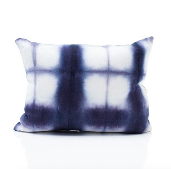 Tie-dye navy blue rectangular pillow