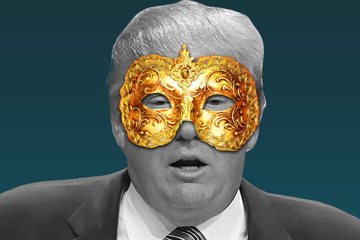 An illustration of Donald Trump with a golden mask covering his eyes.