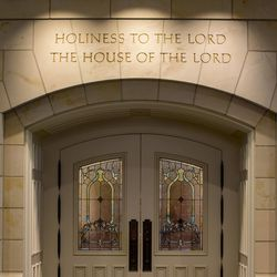 The entrance to the Provo City Center Temple in Provo, Utah.