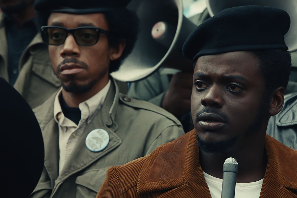 """""""Judas and the Black Messiah"""" cast member Darrell Britt-Gibson (left, with Daniel Kaluuya), plans to meet U.S. Rep. Bobby Rush, whom he portrays in the film."""