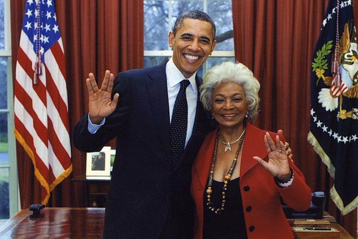 President Obama meets Uhura from Star Trek.