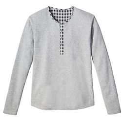 Waffle Henley Tee in Grey with Plaid Trim, $19.99
