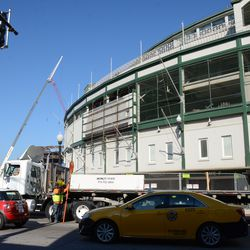 11:00 a.m. Concrete barricades being unloaded -