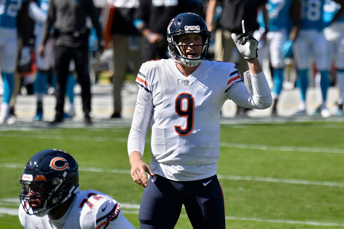 Nick Foles of the Chicago Bears calls out instructions in the first quarter against the Carolina Panthers at Bank of America Stadium on October 18, 2020 in Charlotte, North Carolina.