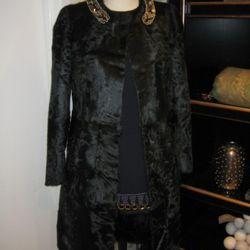 Marni dark green Chinese lamb embroidered neck long coat, $11,140