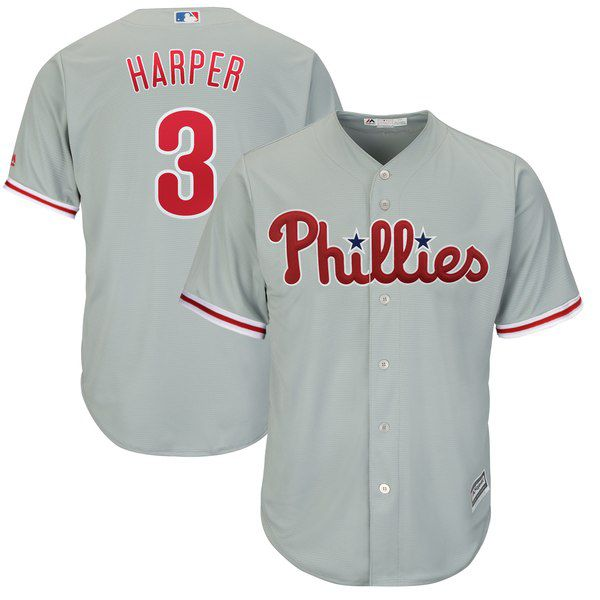 85aea111187 Bryce Harper Majestic Official Cool Base Replica Player Jersey – Gray for   119.99 Fanatics