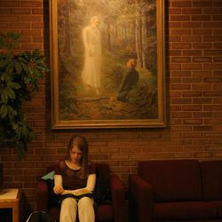 A painting of Moroni talking to Joseph Smith painted by L.A. Ramsey (painted 1939) pangs in an LDS institute building.