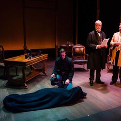 """Ryon Sharette (Williams Perkins Ingersoll), Marshall Bell (Ulysses S. Grant) and Morgan Lund (Mark Twain) in Salt Lake Acting Company's world premiere production of Grant & Twain."""""""