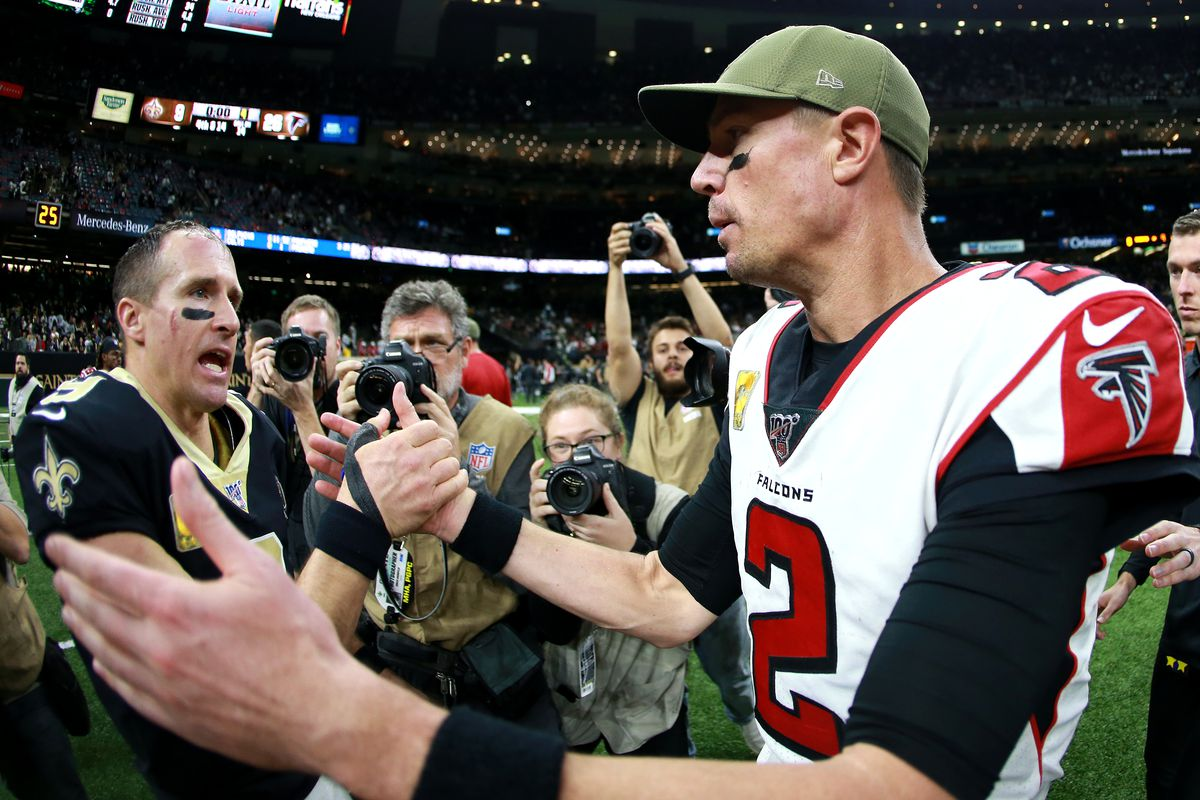 Matt Ryan #2 of the Atlanta Falcons is congratulated by Drew Brees #9 of the New Orleans Saints after his team defeated the Saints 26-9 during a NFL game at the Mercedes Benz Superdome on November 10, 2019 in New Orleans, Louisiana.