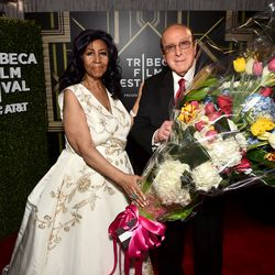 Franklin and Clive Davis backstage during the 2017 Tribeca Film Festival. | Getty Images