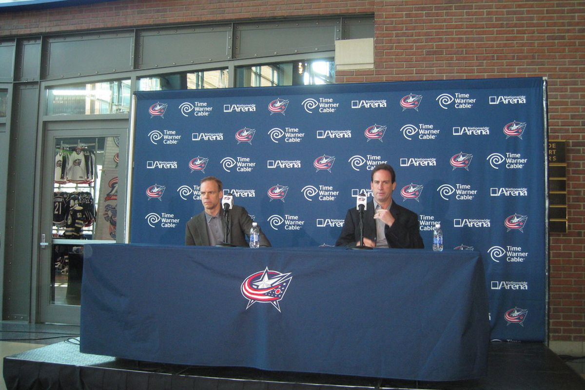 The law firm of Howson & Arniel prepares to meet the press at the Blue Jackets Media Day.