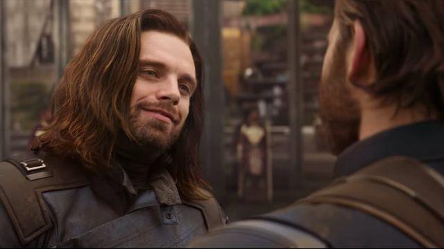 Bucky (L) and Steve Rogers (R) in <em>Avengers: Infinity War</em>