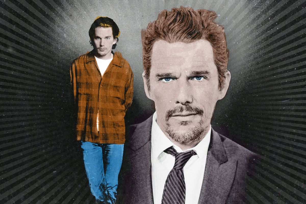 Two portraits of Ethan Hawke, one from the '90s and one modern