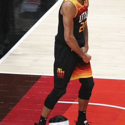 Utah Jazz center Rudy Gobert (27) reacts after being called for a foul against the Minnesota Timberwolves in Salt Lake City on Saturday, Dec. 26, 2020.