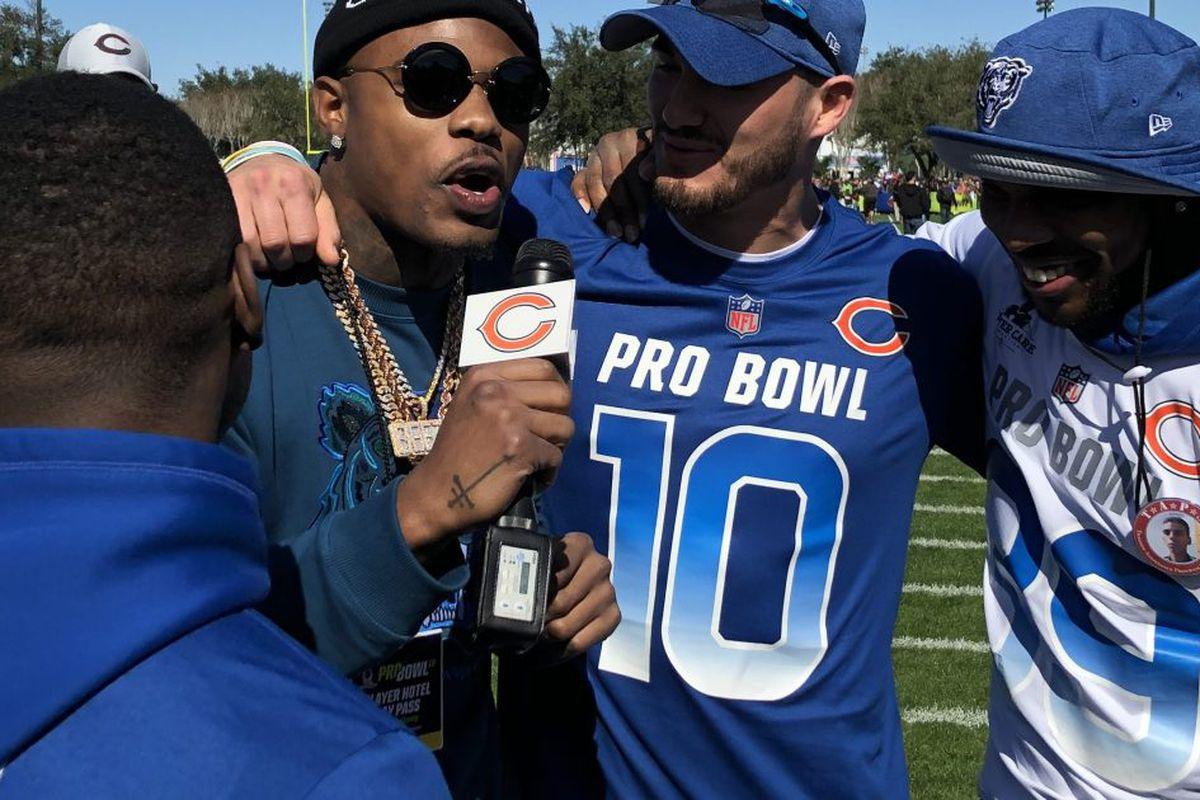 639550643 Bears receiver Josh Bellamy interviews his Pro Bowl teammates  Tarik Cohen