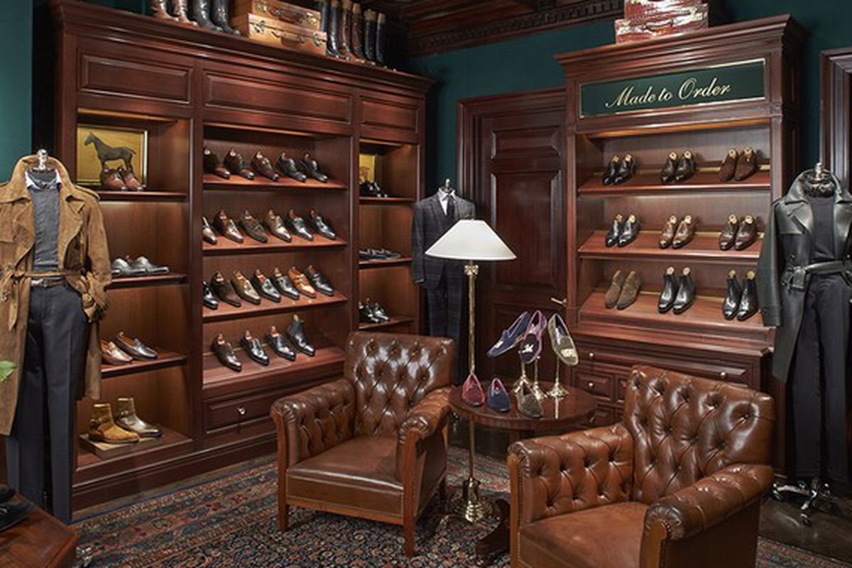 """Image via <a href=""""http://www.wwd.com/menswear-news/clothing-furnishings/ralph-lauren-opens-shoe-salon-at-rhinelander-7109905?src=search_links"""">WWD</a>"""