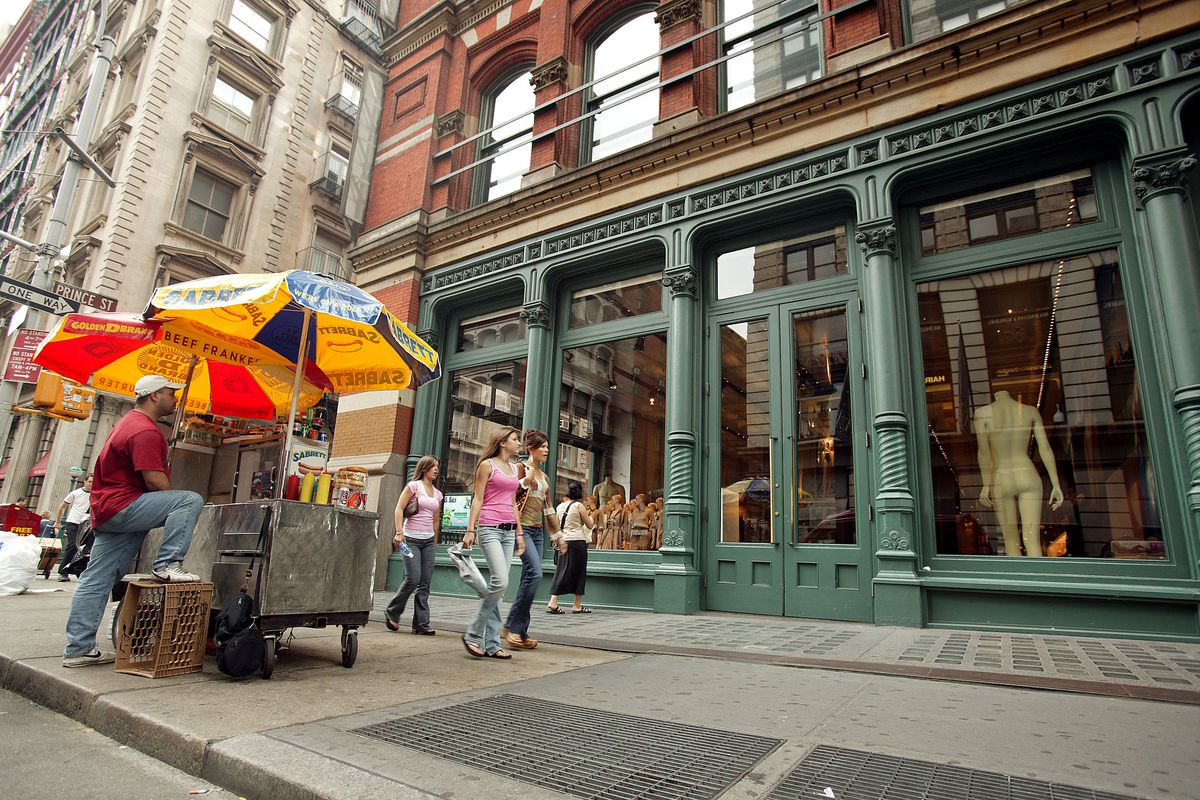 Prada store in Soho with hot dog stand