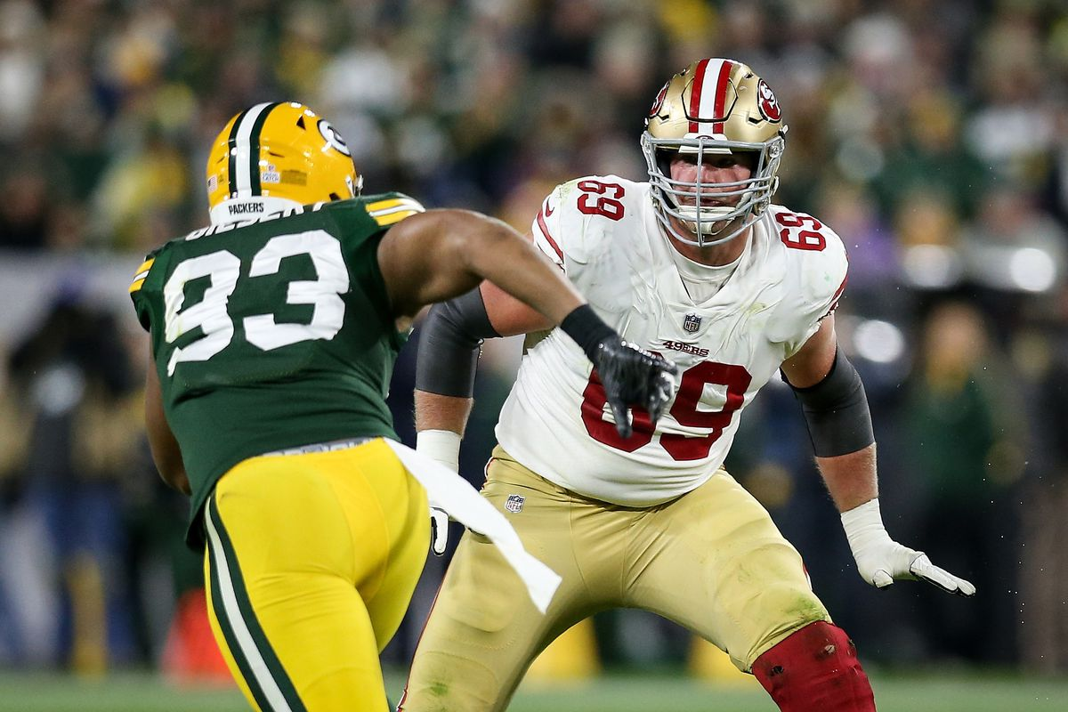 Mike McGlinchey of the San Francisco 49ers guards against Reggie Gilbert of the Green Bay Packers in the third quarter at Lambeau Field on October 15, 2018 in Green Bay, Wisconsin.