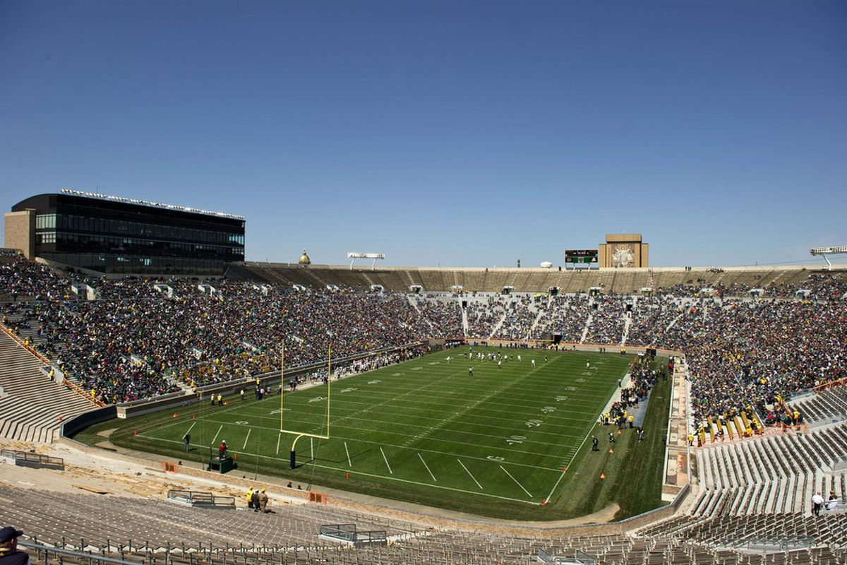 A grass surface like BYU's and Notre Dame's (pictured) is becoming more rare -- especially given the schools' latitude.