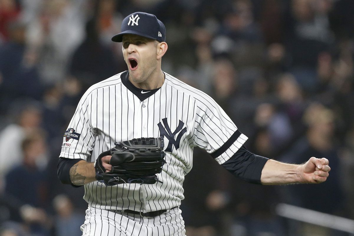 James Paxton #65 of the New York Yankees in action against the Houston Astros in game five of the American League Championship Series at Yankee Stadium on October 18, 2019 in New York City. The Yankees defeated the Astros 4-1.