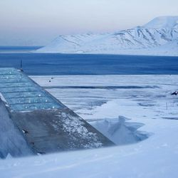 FILE - This is a Feb. 26, 2008 file photo showing the Svalbard Global Seed Vault near Longyearbyen in Svalbard, Norway.  Chick peas, fava beans and other seeds from a facility in strife-torn Syria are among the 25,000 new samples being deposited this week in an Arctic seed vault built to protect food crops from wars and natural disasters, officials said.