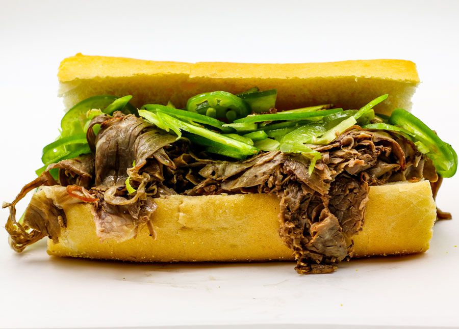 An Italian beef with peppers.
