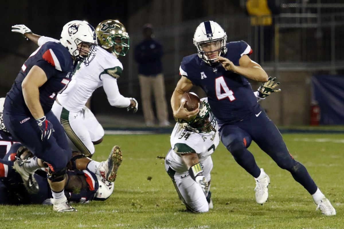 The UConn Huskies take on the USF Bulls in a college football game at Pratt & Whitney Stadium at Rentschler Field in East Hartford, CT on November 4, 2017.