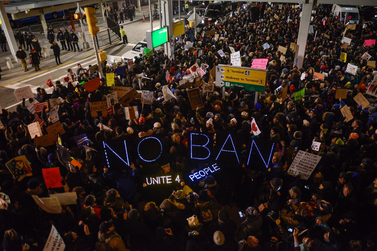 A protest at JFK International Airport, against the immigration ban