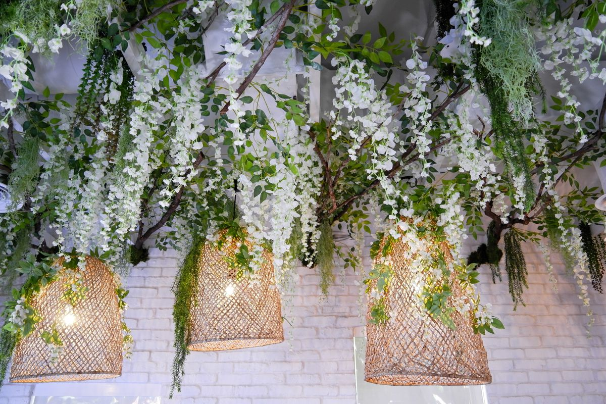 hanging flowers from roof
