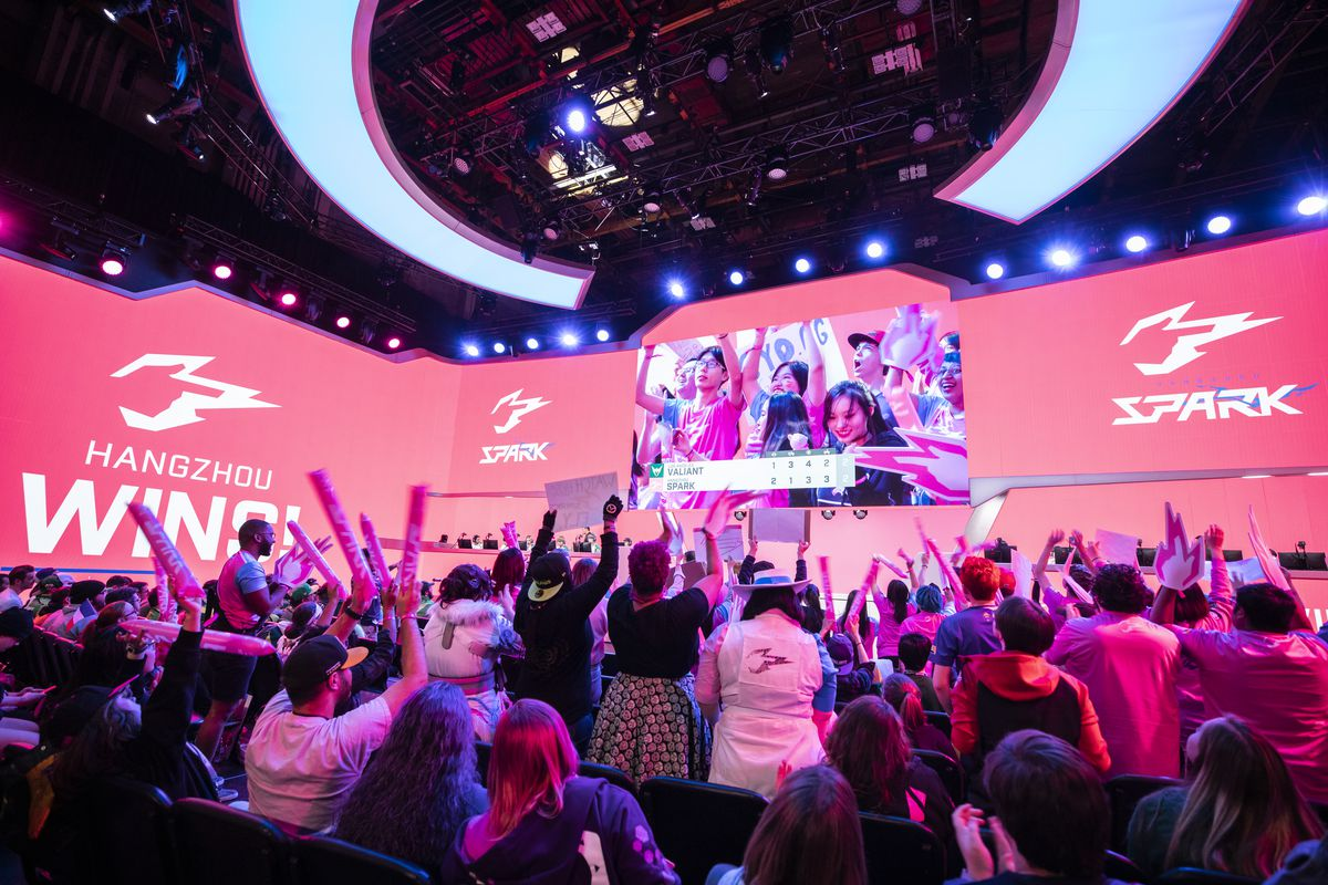 Overwatch League - a shot of the Hangzhou Spark winning a game at the Blizzard Arena.