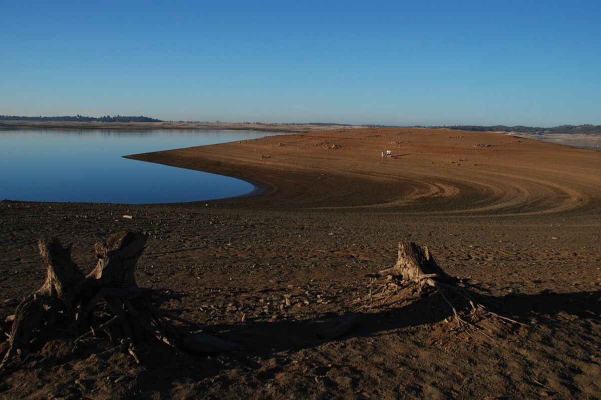 A depleted reservoir with parched earth and stunted trees.