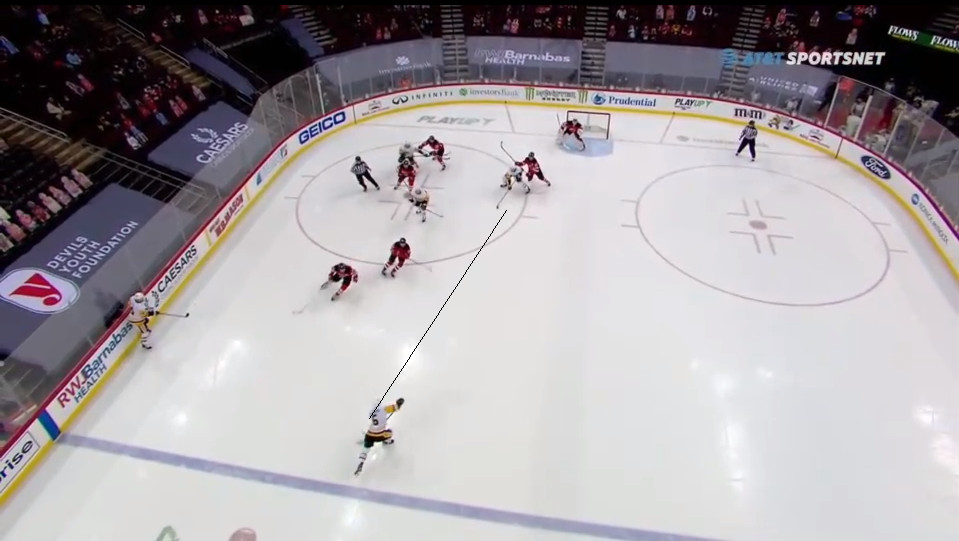 April 11: The Devils lost an offensive zone faceoff. That's one thing. The puck went back to Cody Ceci, who set up Mike Matheson for a shot. OK. Damon Severson failed to tie up Colton Sceviour's stick and is in the lane. So Blackwood does not see this deflection coming at him, much less past him.