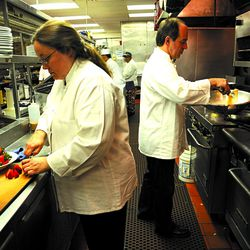 Sarah and George in 2009 in the Prairie Grass Cafe kitchen. Jason Han Sun-Times