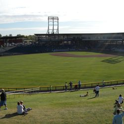The field and berm as seen from the party deck