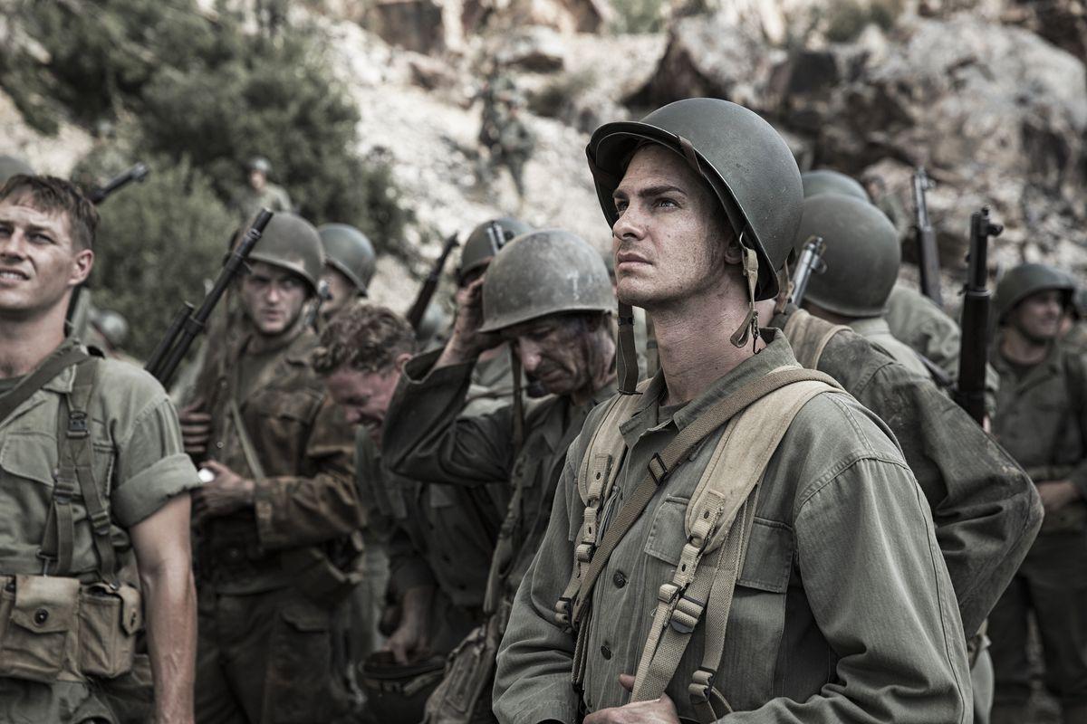 Andrew Garfield plays Desmond Doss in Hacksaw Ridge