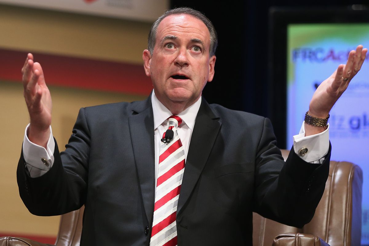 Republican presidential hopeful and former Arkansas Gov. Mike Huckabee fields questions at the Family Leadership Summit at Stephens Auditorium on July 18, 2015, in Ames, Iowa.