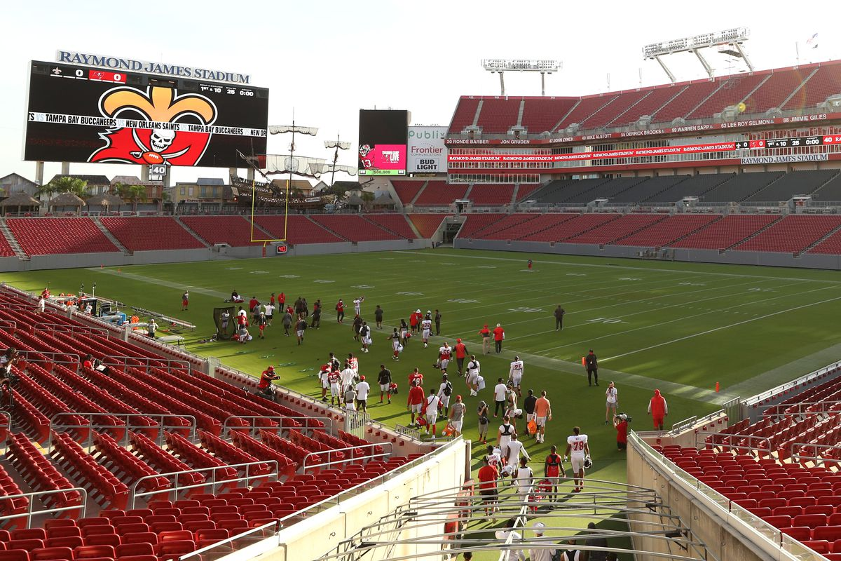 A general view as players take the field during training camp at Raymond James Stadium on August 28, 2020 in Tampa, Florida.